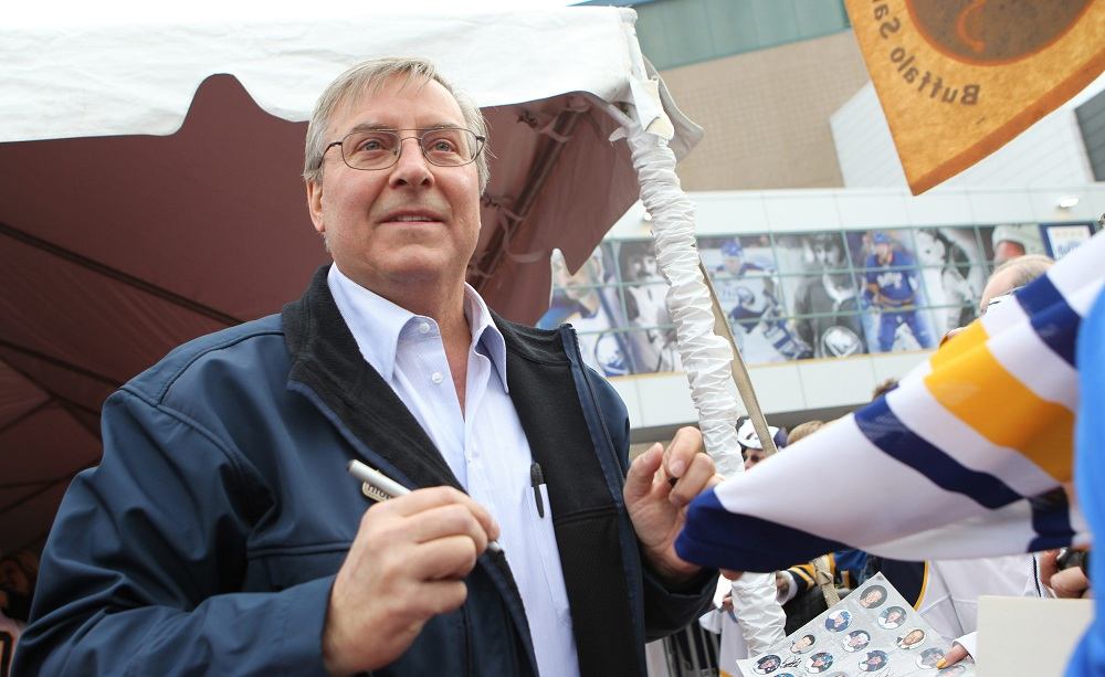Sabres owner Terry Pegula greets fans while walking the red carpet before the last home game at HSBC Arena  on Friday, April 8, 2011. (James P. McCoy/Buffalo News)