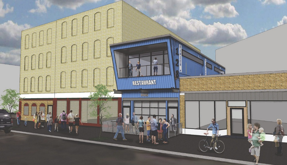 Tasting party for new downtown hot-dog restaurant, the blue building in the plan above, will be Oct. 15.
