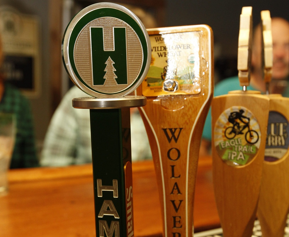 Hamburg Brewing Company's beer is one of a few local breweries with a tap handle at Craft Tap House. (Sharon Cantillon/Buffalo News)