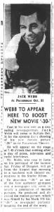 22 oct 1959 jack webb in Buffalo