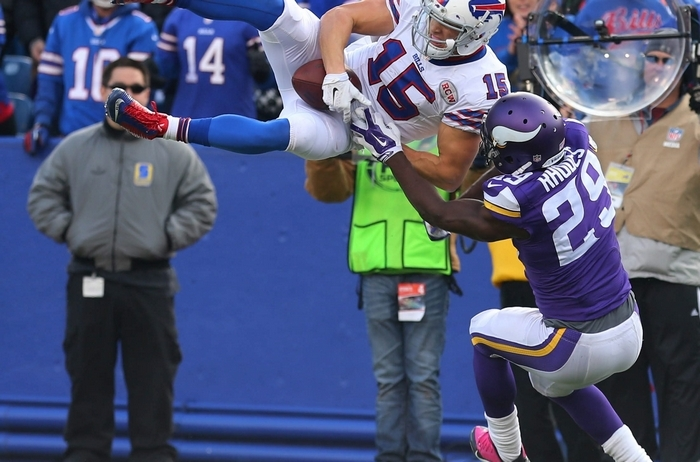 Chris Hogan's leaping grab against the Vikings put the ball on the 2-yard line. (Mark Mulville/Buffalo News)