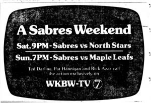 23 19 oct 1974 sabres on 7 Ted Darling Pat Hanningan Rick Azar