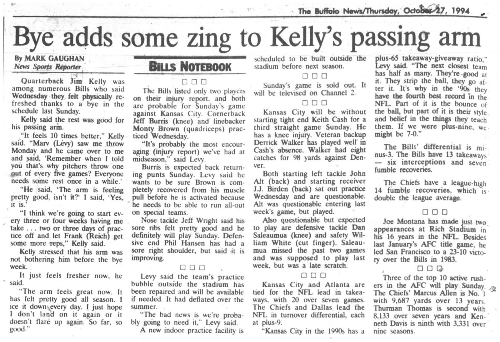 27 oct 1994 bye week good for Kellys arm