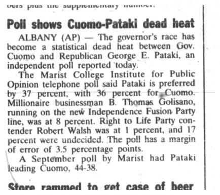 27 oct 1994 cuomo pataki dead heat