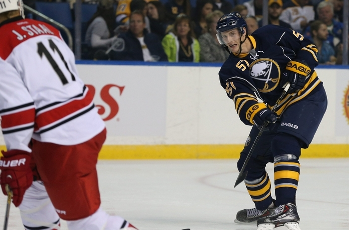 Tyler Myers has taken 15 shots this season, tying him for the Sabres' team lead with winger Chris Stewart. (James P. McCoy/Buffalo News)