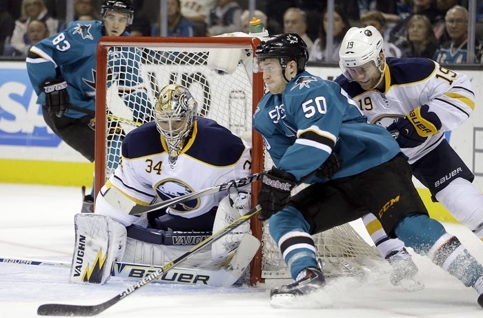 Sabres goalie Michal Neuvirth (34), after a strong showing in two games during the team's West Coast road trip, gets the call in net tonight against the Maple Leafs in Toronto. (Associated Press)