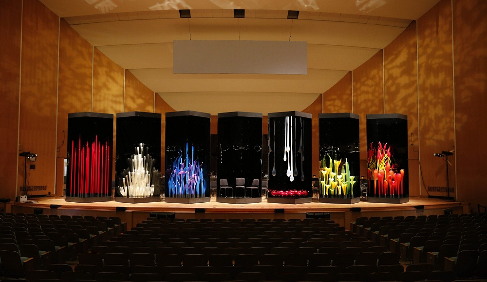 Dale Chihuly's sculptures set the backdrop for 'Bluebeard,' Bela Bartok's opera performed at Kleinhans Music Hall. (Derek Gee / Buffalo News)
