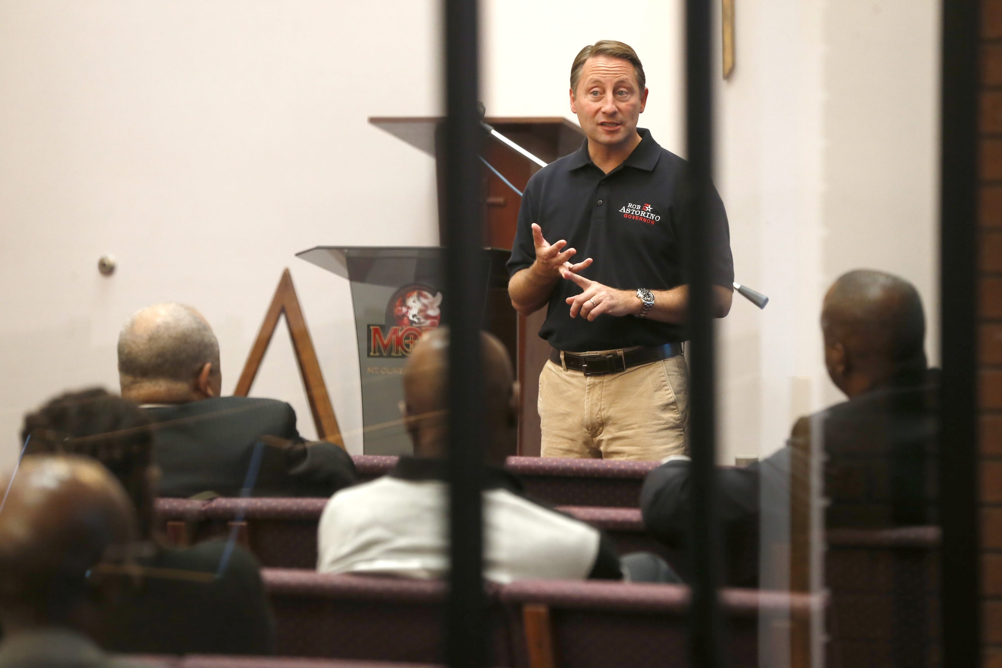 """Republican New York gubernatorial candidate Rob Astorino attends a """"meet the candidate"""" forum Sept. 27 at Mount Olive Baptist Church on East Delevan Avenue in Buffalo."""