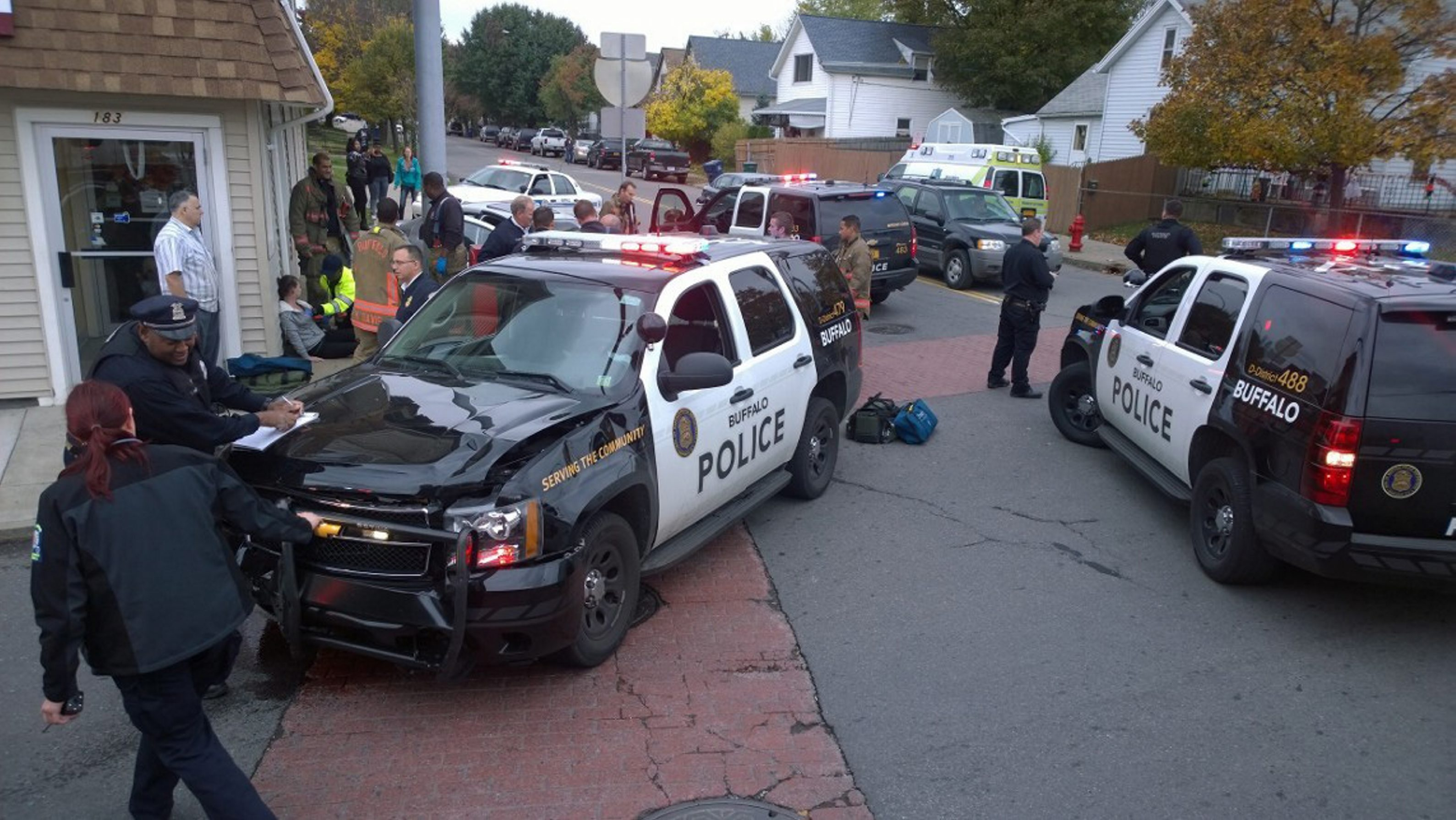 The site of a collision between a police car and a vehicle at Hertel and Tonawanda in Buffalo.