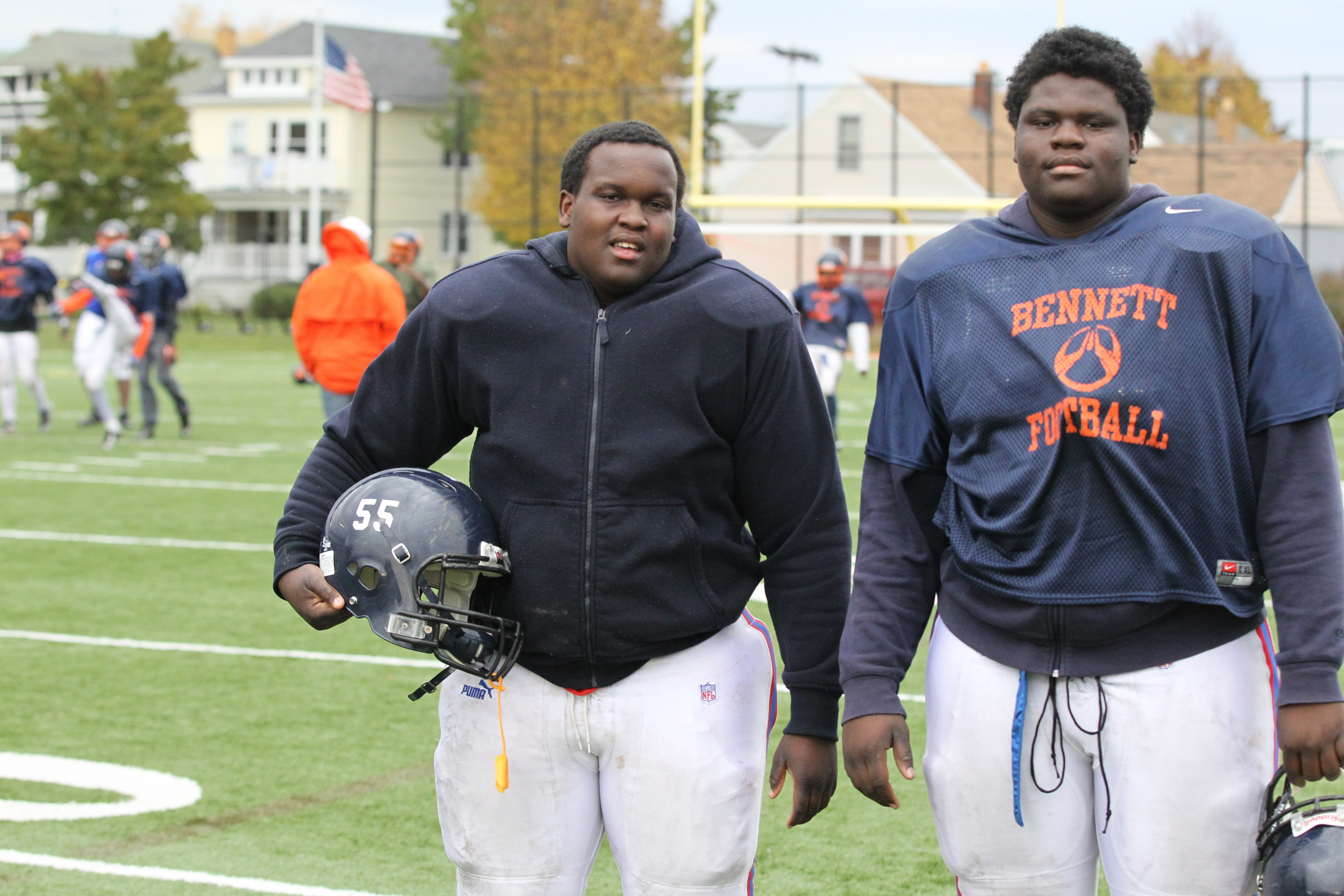 From left, Bennett's Darnell and Jeremiah Sanders will oppose their brother Darlell (Burgard) on Saturday.