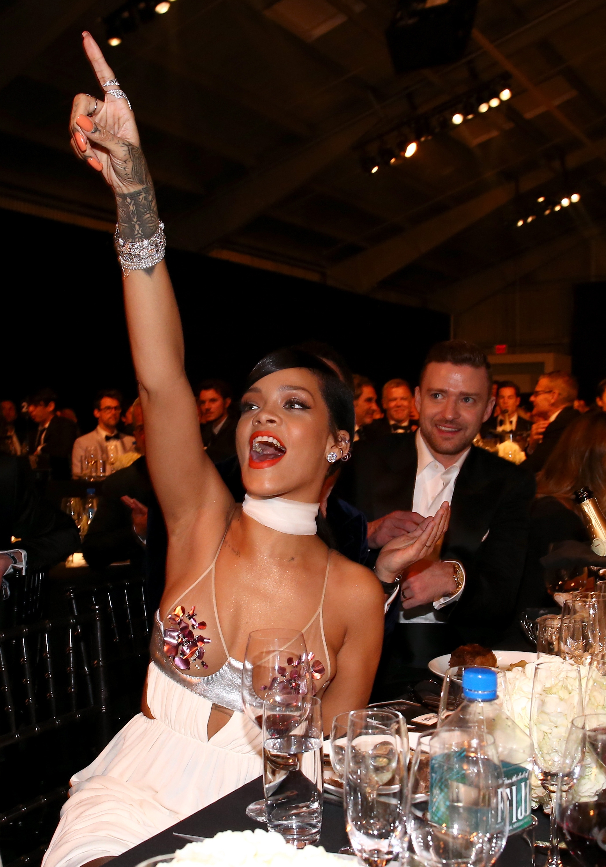 Faces in the crowd: Superstars Rihanna and Justin Timberlake were spotted Wednesday attending the amfAR LA Inspiration Gala honoring Tom Ford in Hollywood, Calif.