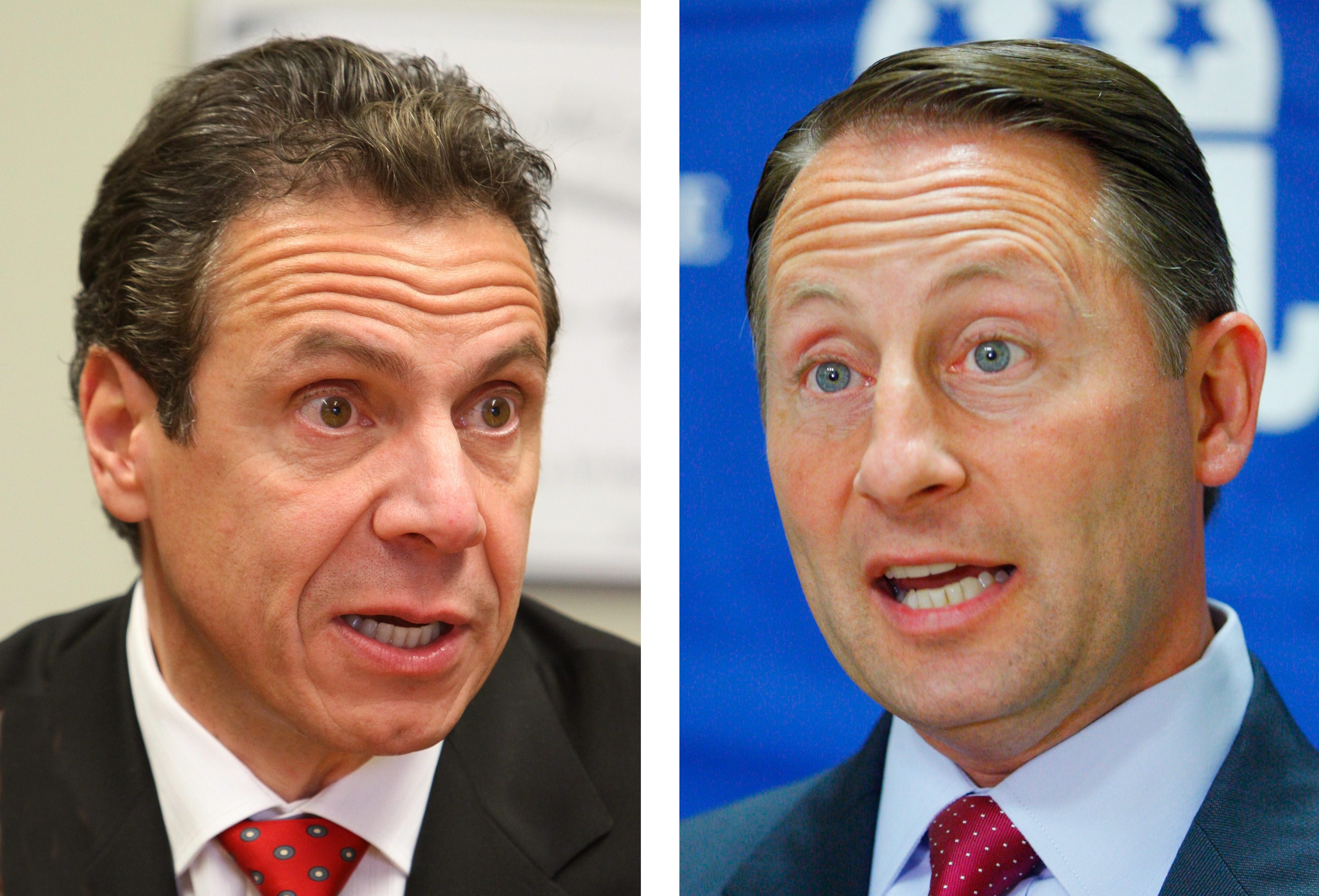 GOP challenger Rob Astorino, right, has made Gov. Andrew Cuomo's support of the SAFE Act an issue in campaign, although polls show New Yorkers support gun control.   (Mark Mulville/Buffalo News)