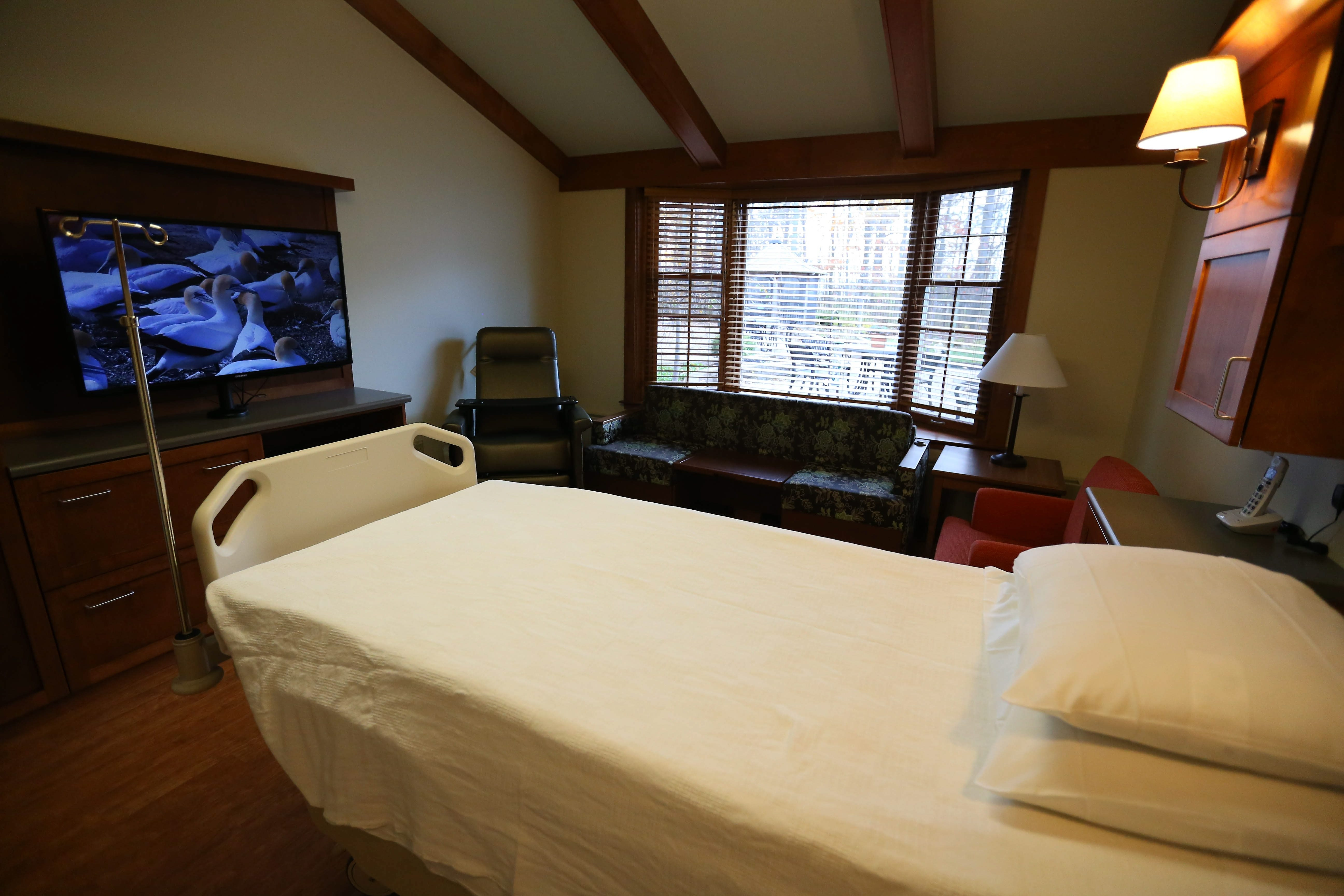 A newly renovated patient room in the William M. & Phyllis Bender Care Center on the Hospice Mitchell Campus in Cheektowaga Wednesday.