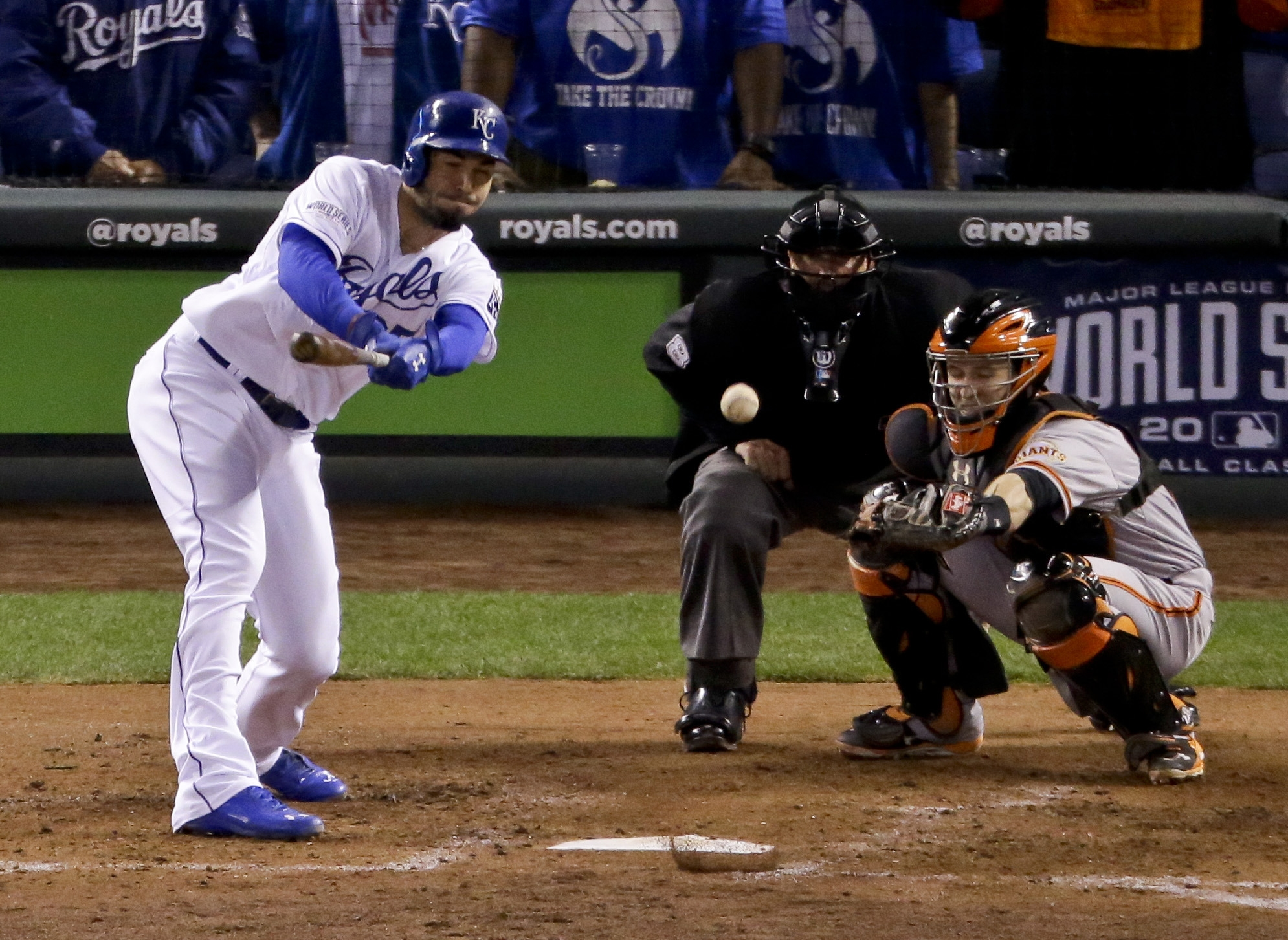 Kansas City's Eric Hosmer watches his two-run double during the second inning of Game Six of the World Series Tuesday. The Royals scored seven runs in the second inning against the Giants.