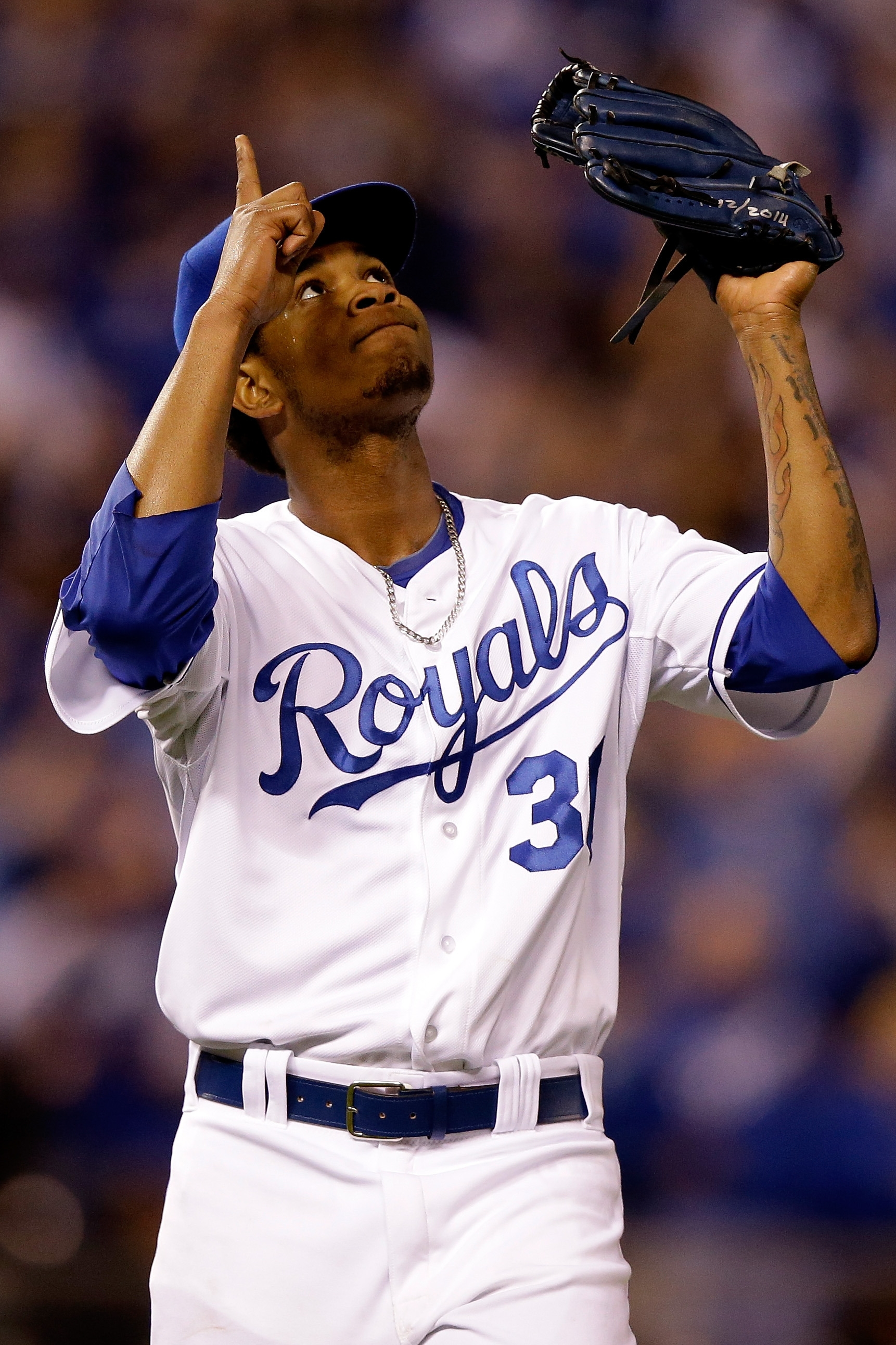 Pitcher Yordano Ventura of the Royals is happy he got out of a bases-loaded jam in the third inning.
