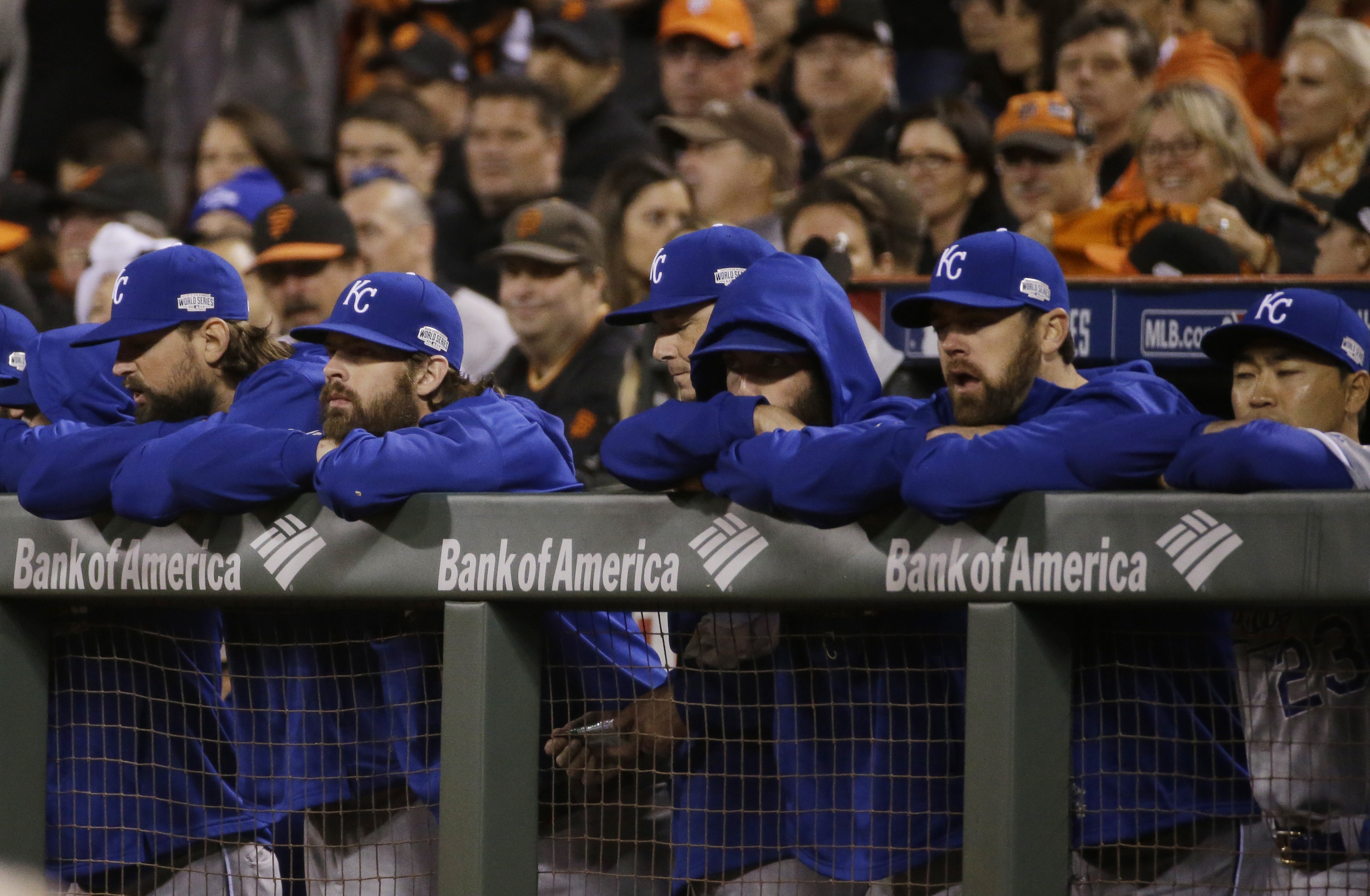 Kansas City Royals watch the ninth inning from their dugout during Game 5 of baseball's World Series against the San Francisco Giants Sunday, Oct. 26, 2014, .