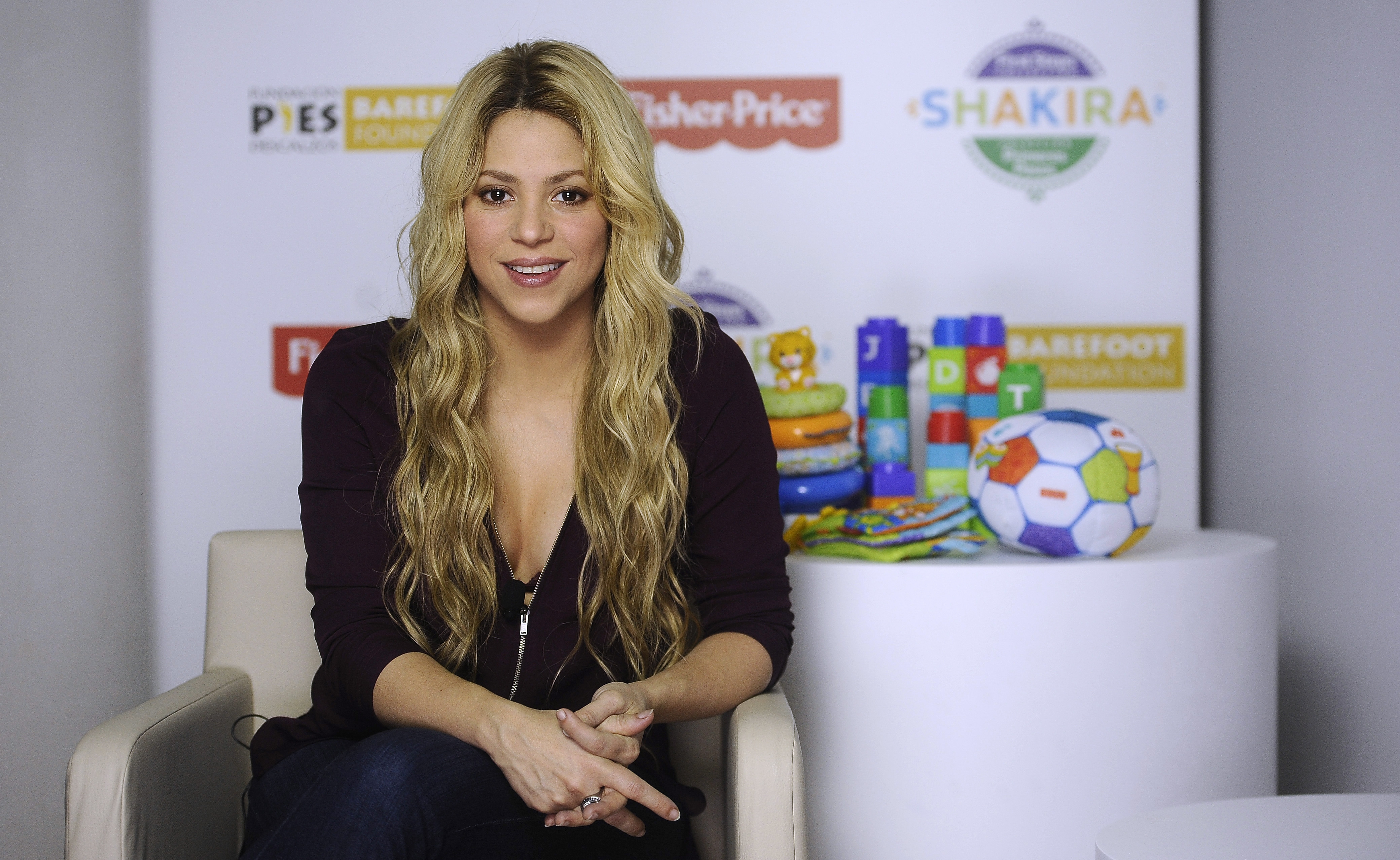 Colombian singer Shakira poses for photographs during an interview with the Associated Press on Monday.