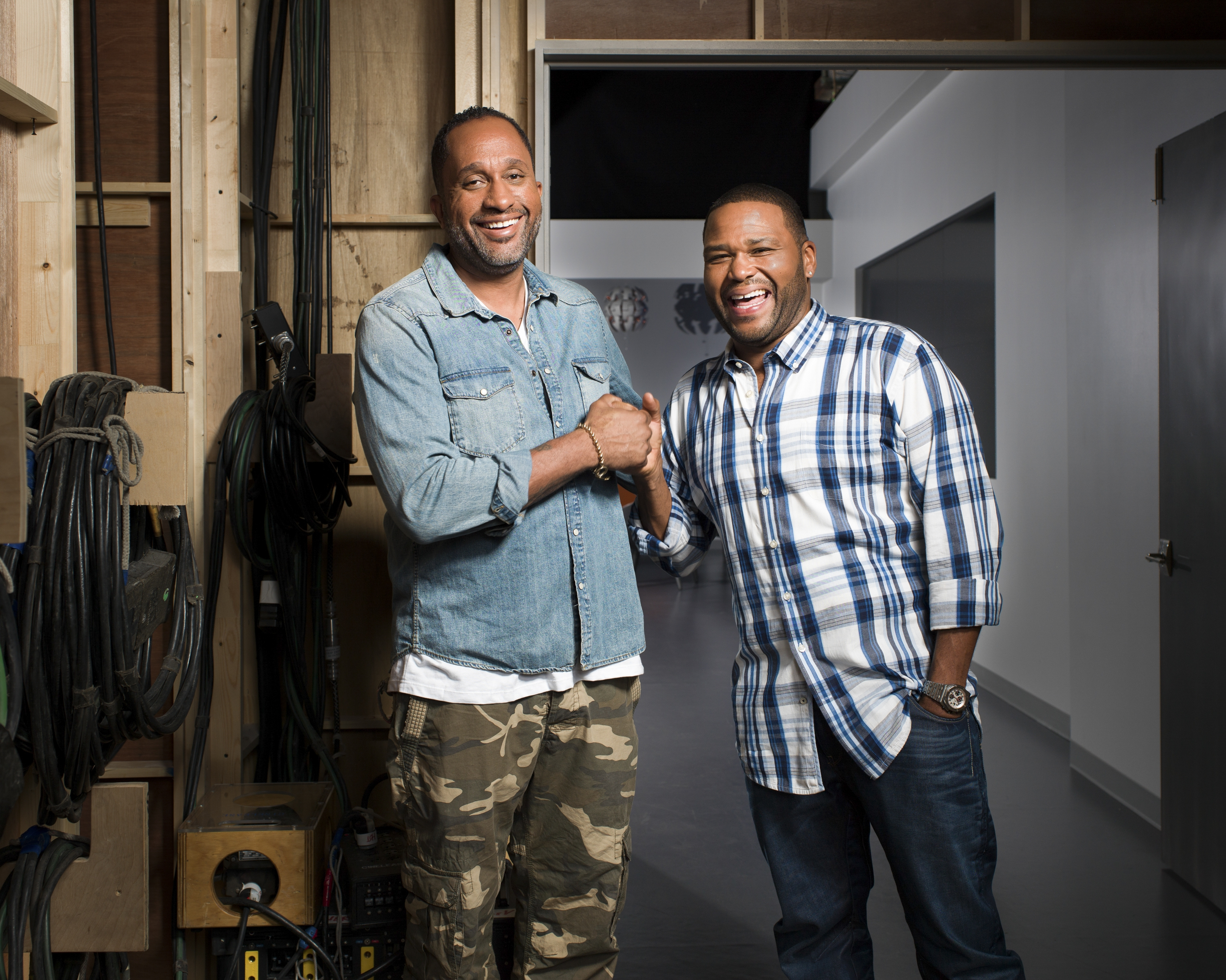 """The PC way of handling culture has been to not talk about it,"" said Kenya Barris, left, creator of the new ABC comedy series ""Black-ish,"" shown with Anthony Anderson, one of the show's lead actors."