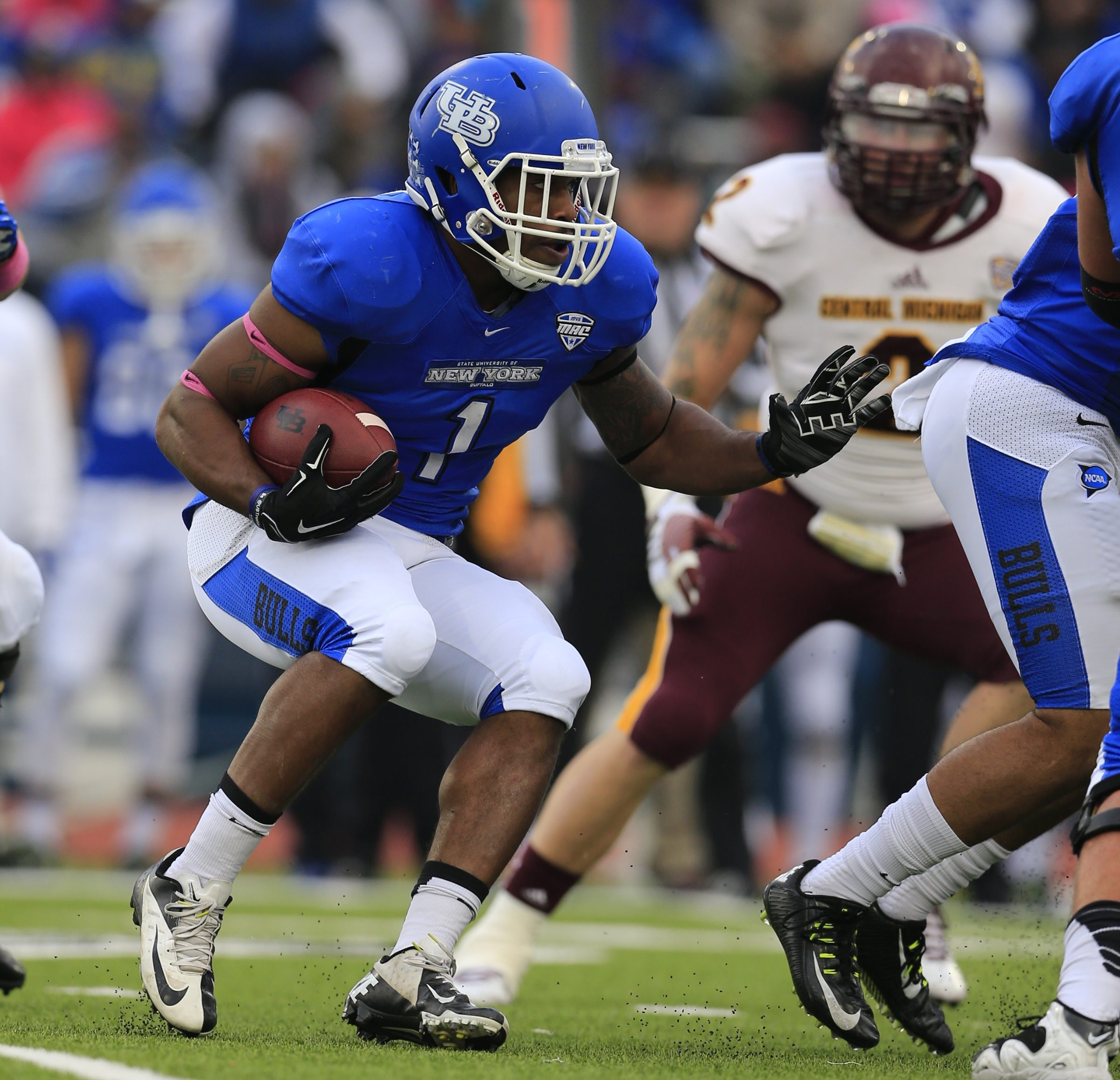 University at Buffalo running back Anthone Taylor found running room hard to come by against Central Michigan.