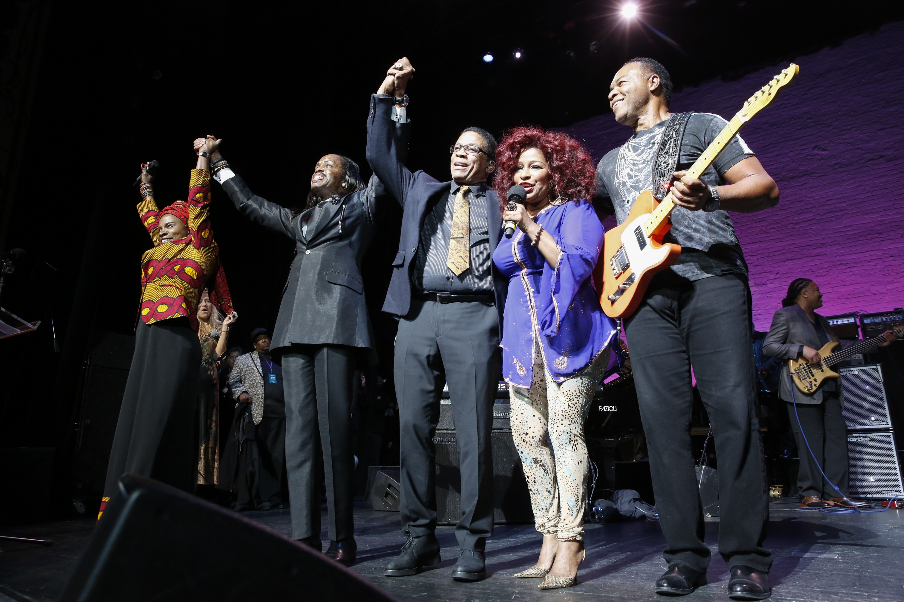 "Herbie Hancock and Chaka Khan take a bow at the ""A Great Night in Harlem"" concert Friday, where Hancock received a Lifetime Achievement Award."
