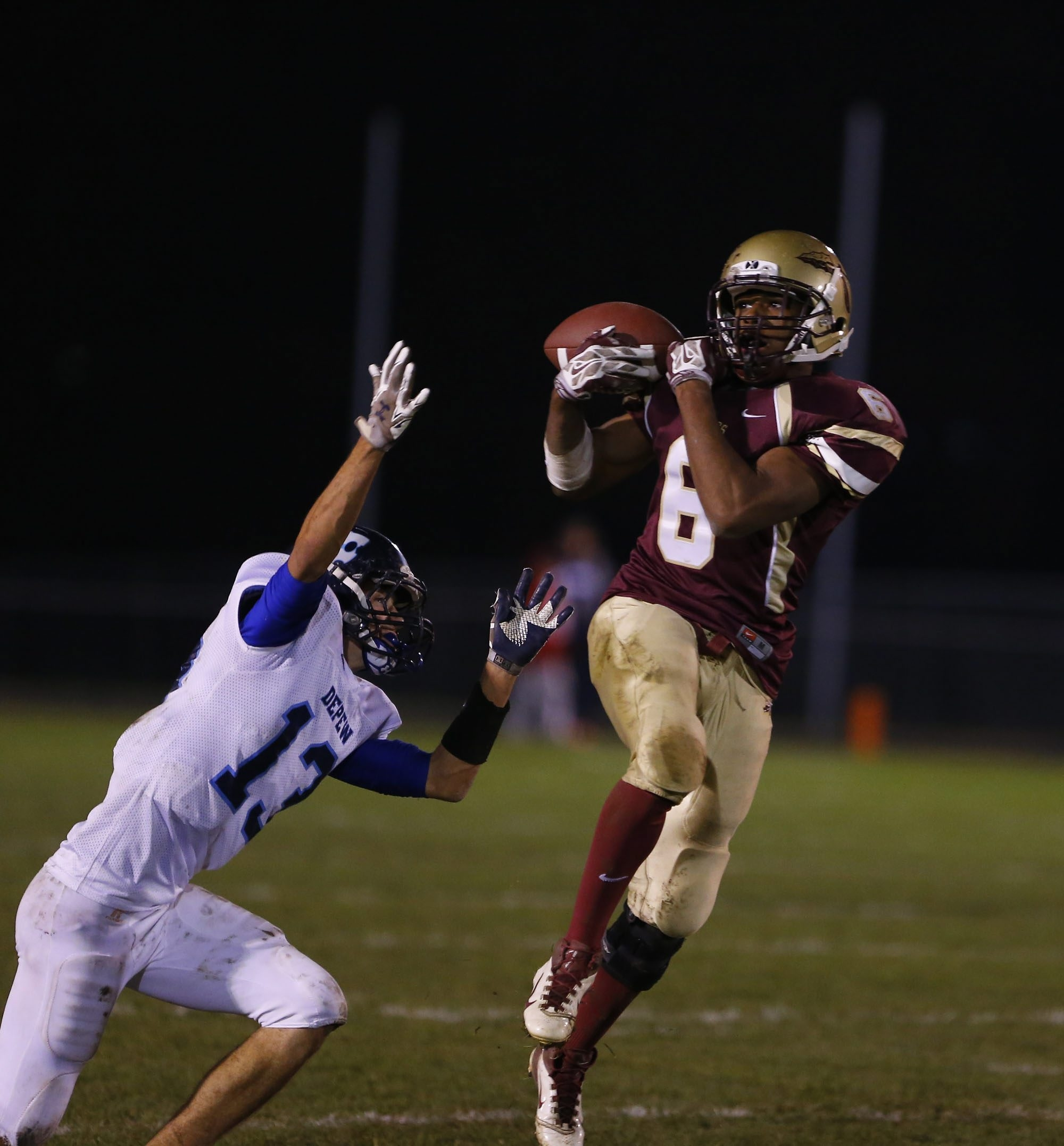 Cheektowaga's Naeem Shah picks off a pass intended for Depew's Tyler Anna in the second half.