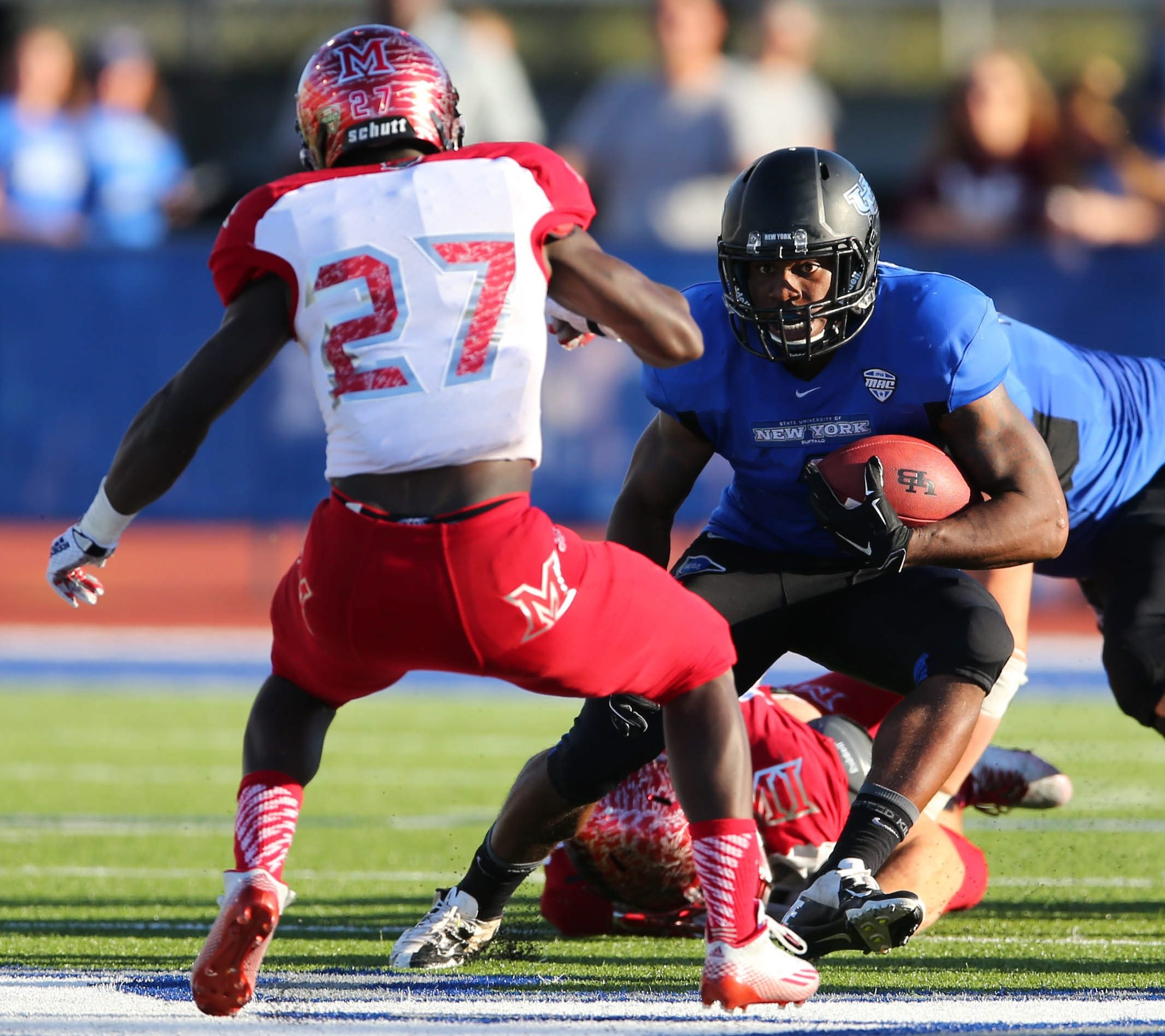 Anthone Taylor needs 74 yards to become the eighth UB player to rush for 1,000 in a season.