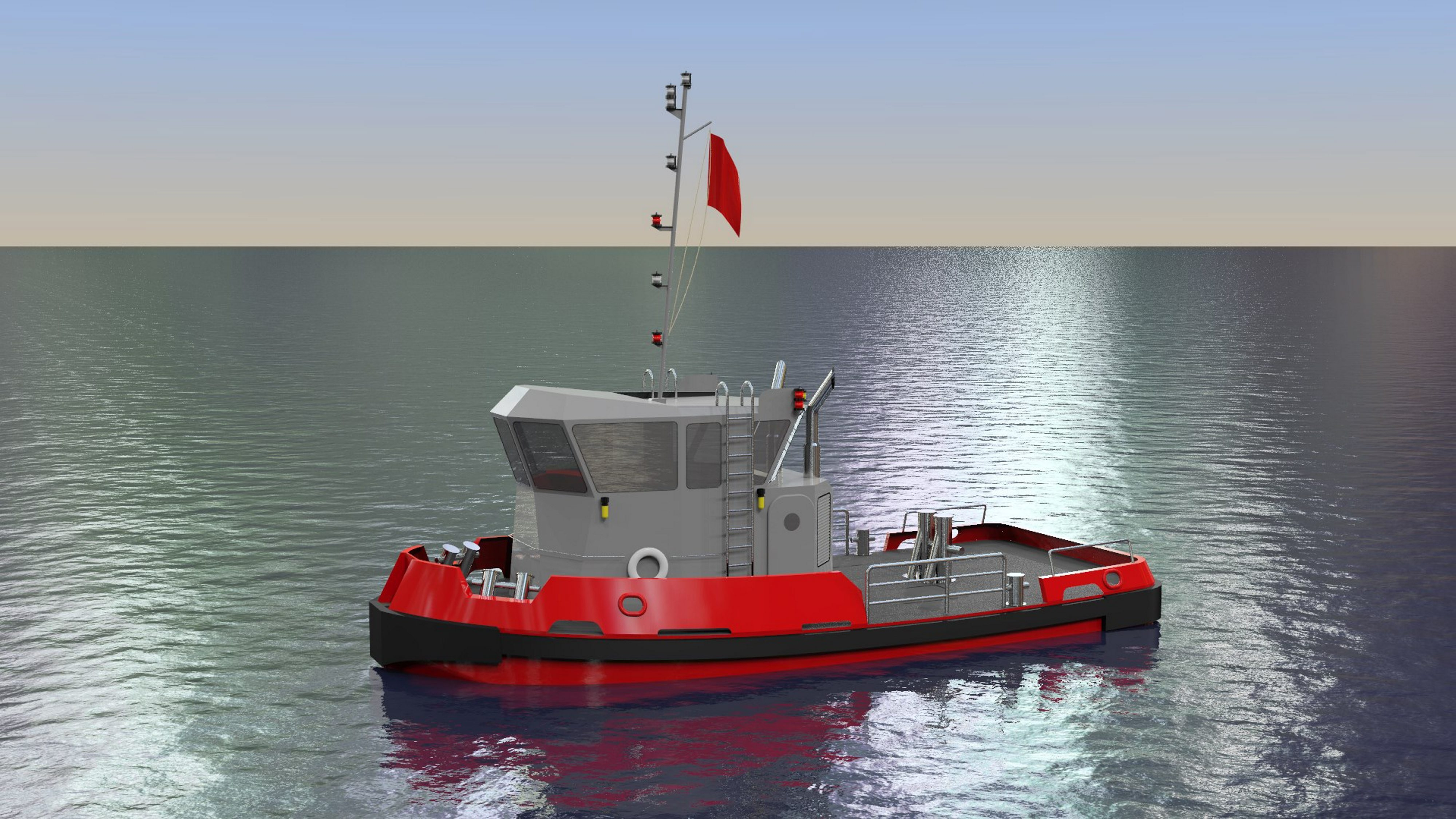 Computer rendering of one of two tugboats recently ordered by the New York Power Authority (NYPA) to replace two aging vessels—the Daniel Joncaire and the Breaker—that support the winter operations of NYPA's Niagara Hydroelectric Power Plant and the Sir Adam Beck Pumped Generating Station, owned by Ontario Power Generation.  (Credit: New York Power Authority)
