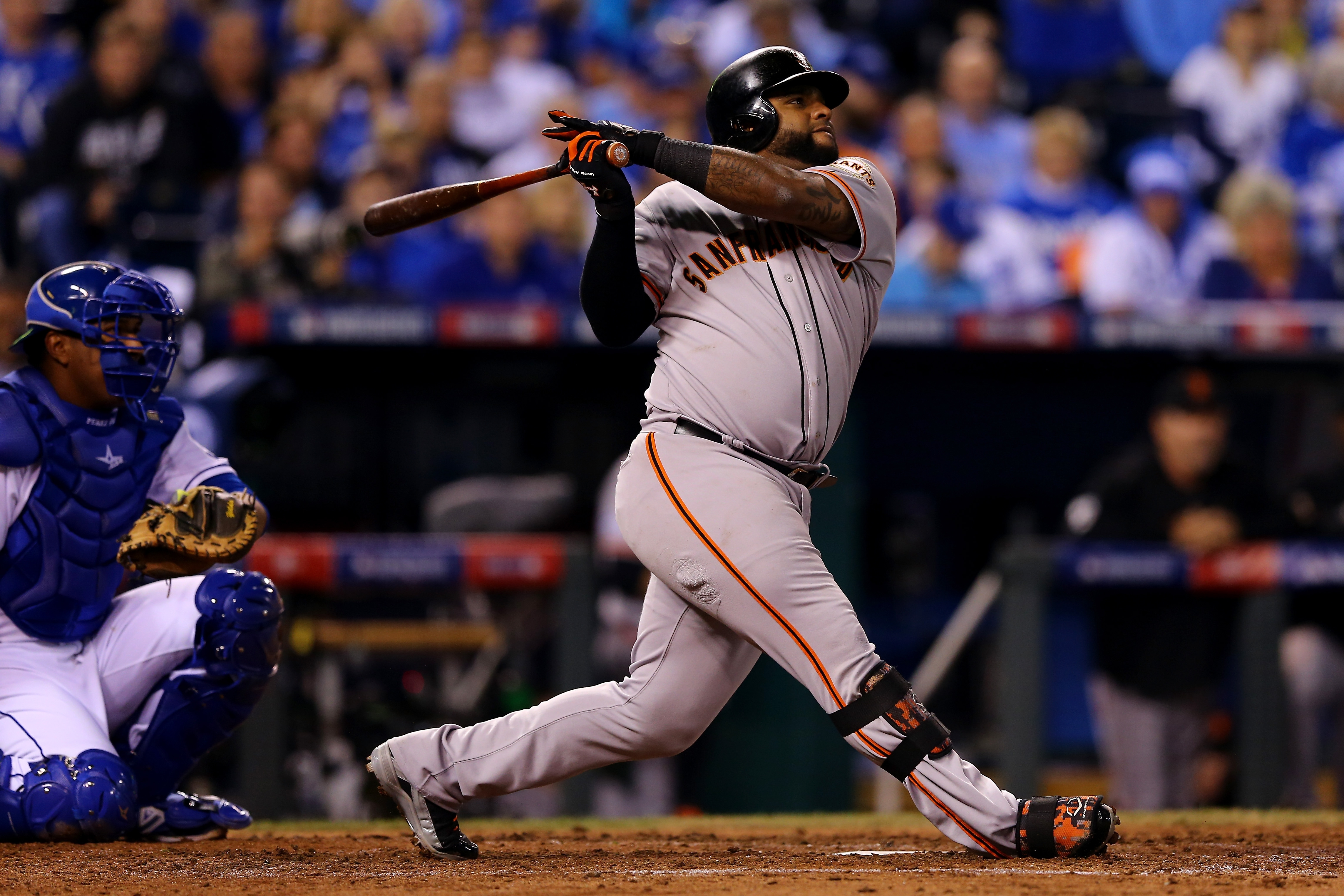 Pablo Sandoval of the Giants smacks a double in the second inning Wednesday night in Kauffman Stadium.