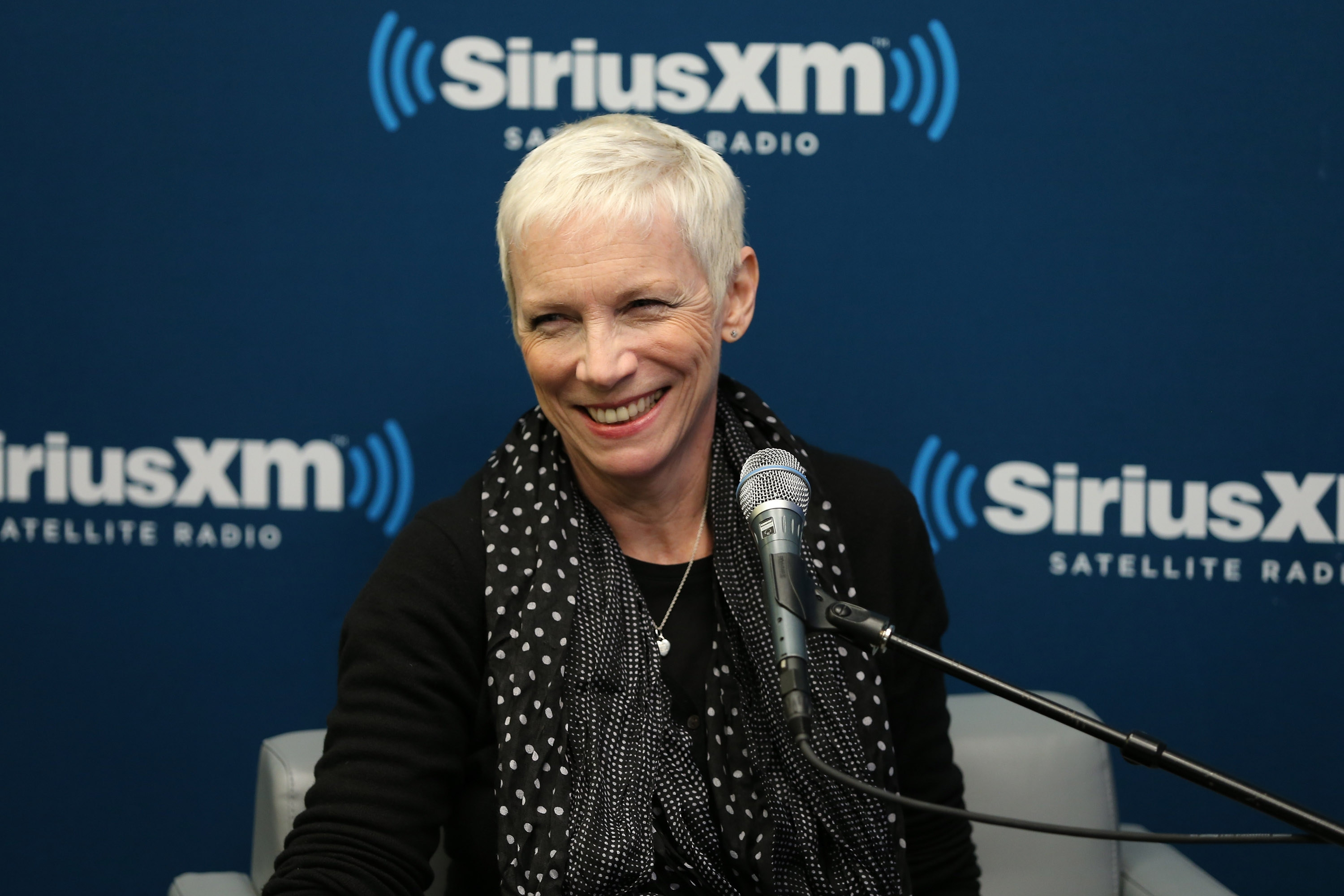 "A Sirius honor: Singer and songwriter Annie Lennox attends SiriusXM's ""Iconography: Annie Lennox"" show hosted by Larry Flick at the SiriusXM Studios on Thursday in New York City."