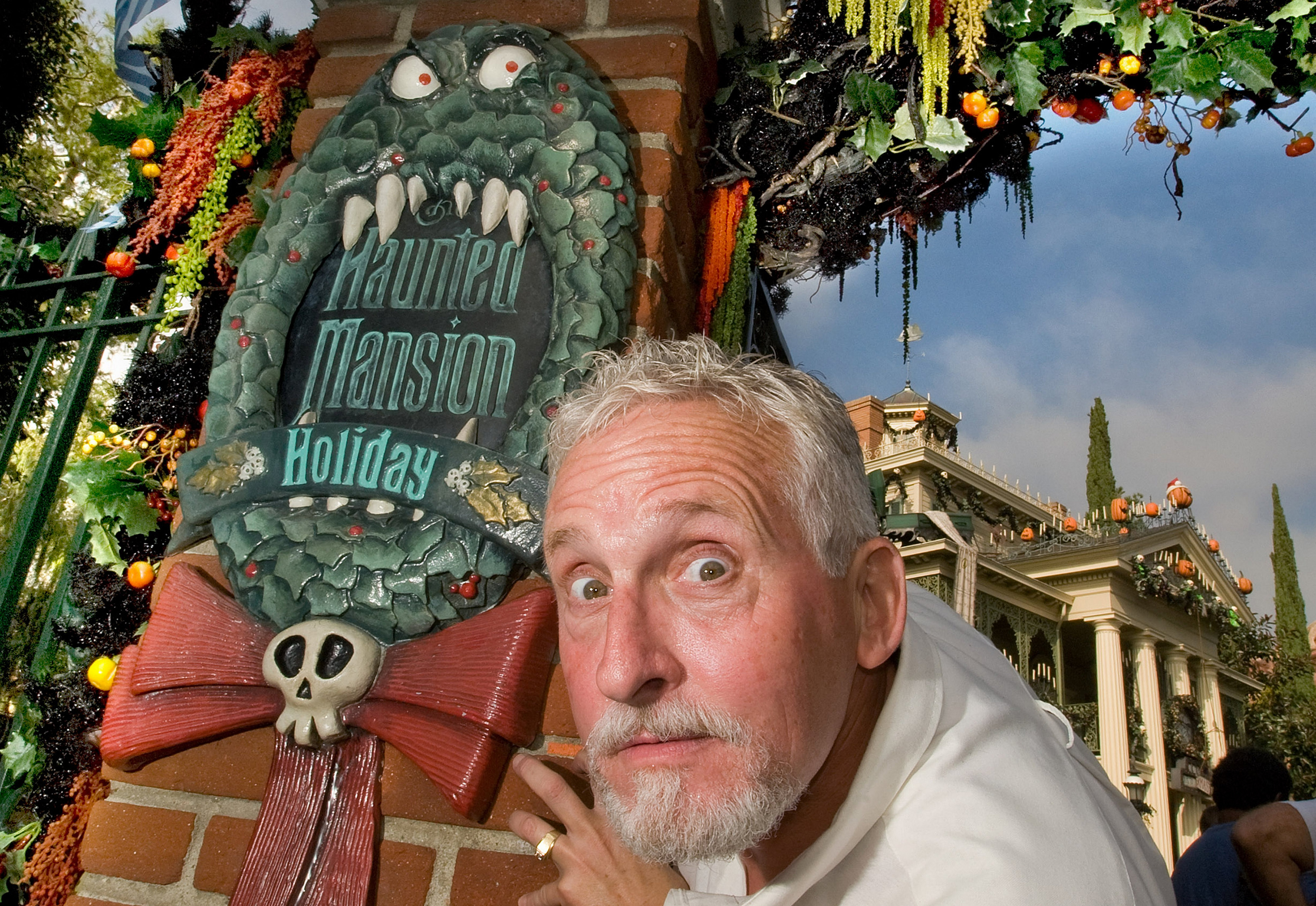 Brian Sandahl, senior art director at Disneyland Resort, scares up Disneyland's Haunted Mansion, where he is responsible for the yearly Halloween decorations.