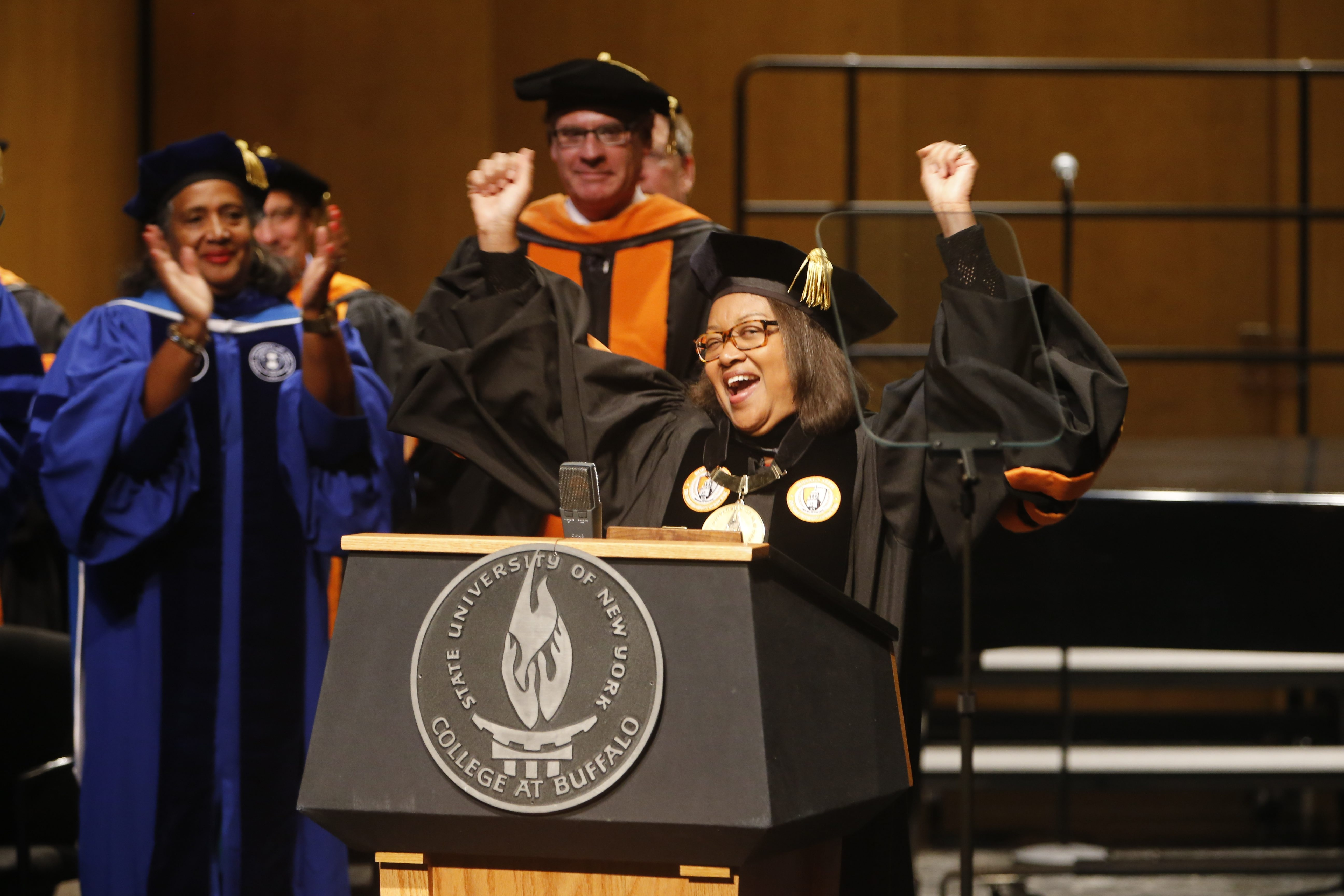 Katherine S. Conway-Turner celebrates after being inaugurated as president of SUNY Buffalo State. See photo gallery on BuffaloNews.com.