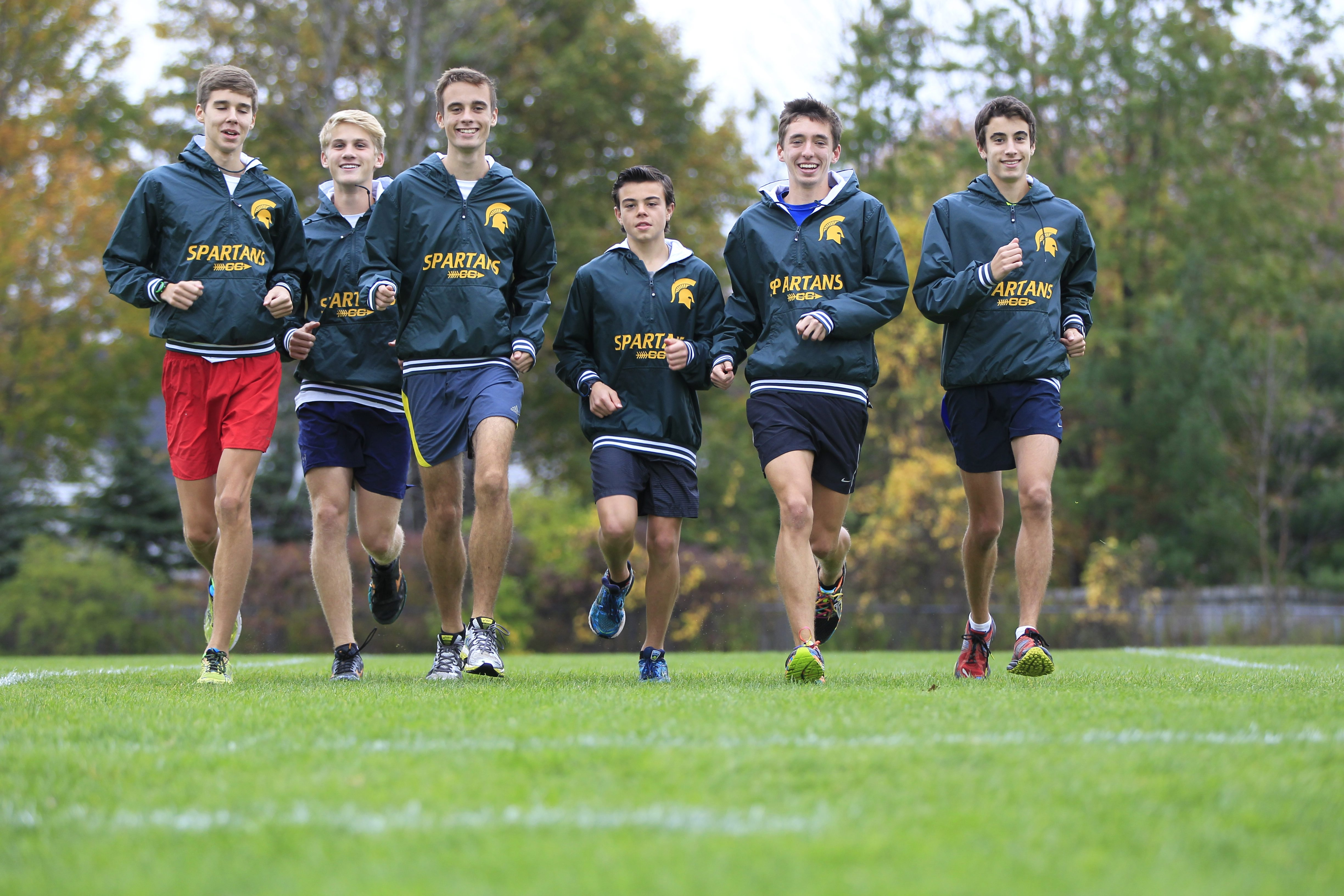 Williamsville North boys cross country runners, from left, are Austin Oetinger, Ryan Konotopskyj, Mike Leczinsky, Colin Begley, Patrick Crowley, and Kevin Seitz.