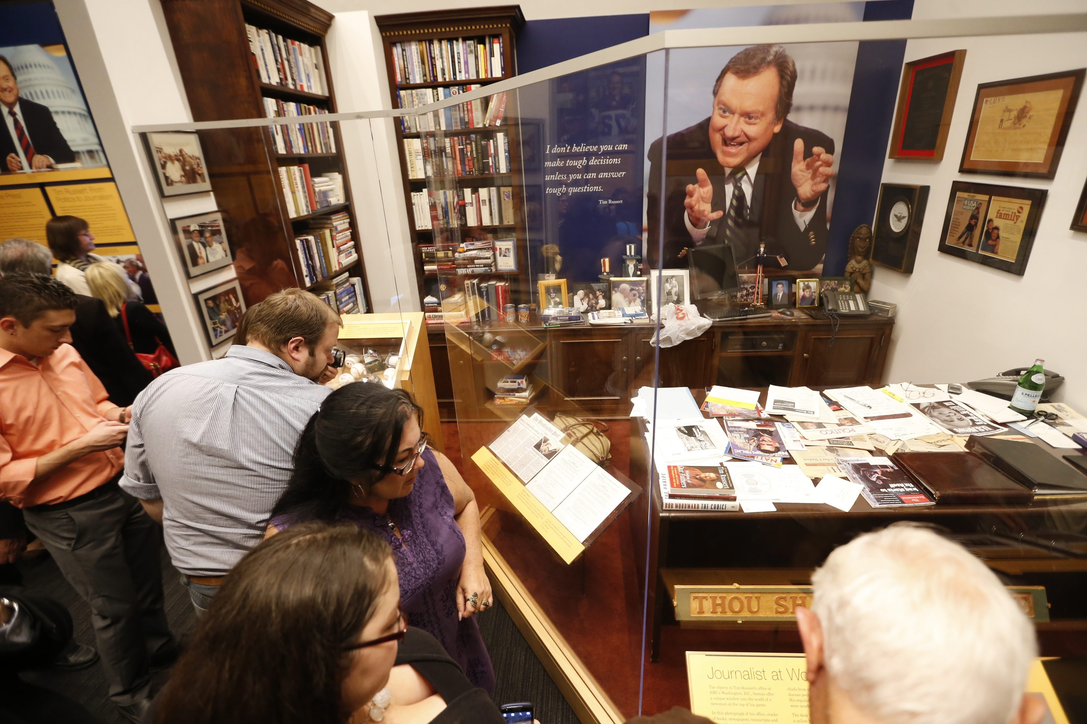 """Guests got a sneak peek Thursday at the Buffalo History Museum's new exhibit remembering the work of Buffalo native and """"Meet the Press"""" host Tim Russert. Events at the museum continue today."""