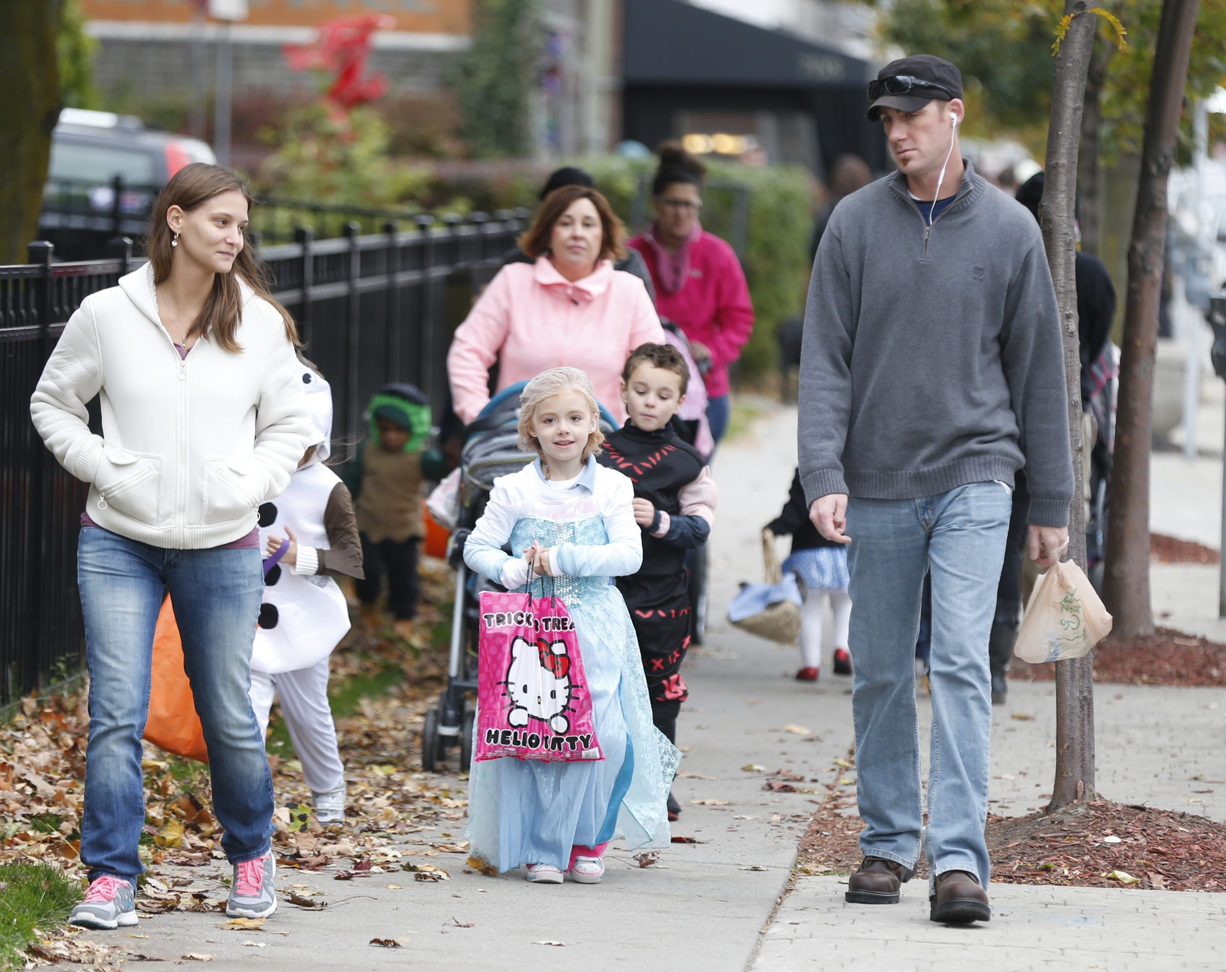 Today on Elmwood Ave. kids getting halloween treats from businesses in a safe trick or treat event sponsored by Elmwood Village Association on Sunday, Oct. 26, 2014.  (Robert Kirkham/Buffalo News)