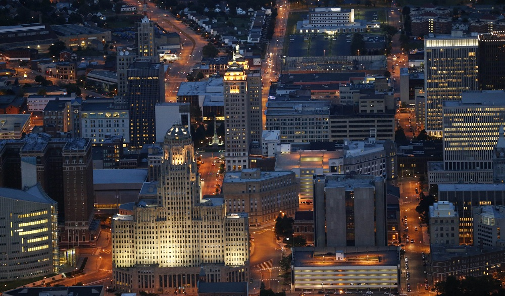 An aerial shot of downtown Buffalo, which has been a hub of innovation long before 2014. (Derek Gee / Buffalo News)