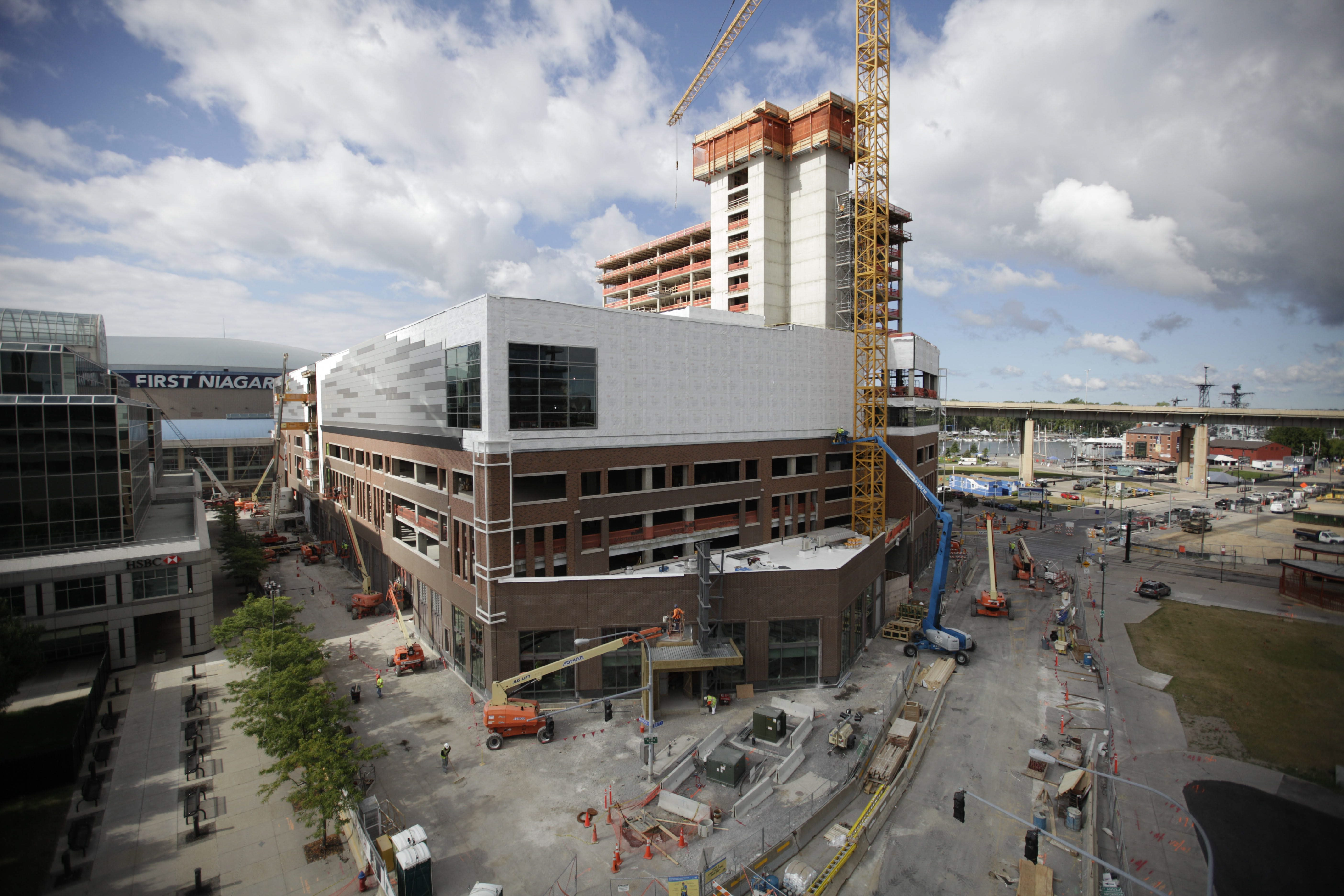 Construction on the HarborCenter building at the end of August. (Derek Gee/Buffalo News)