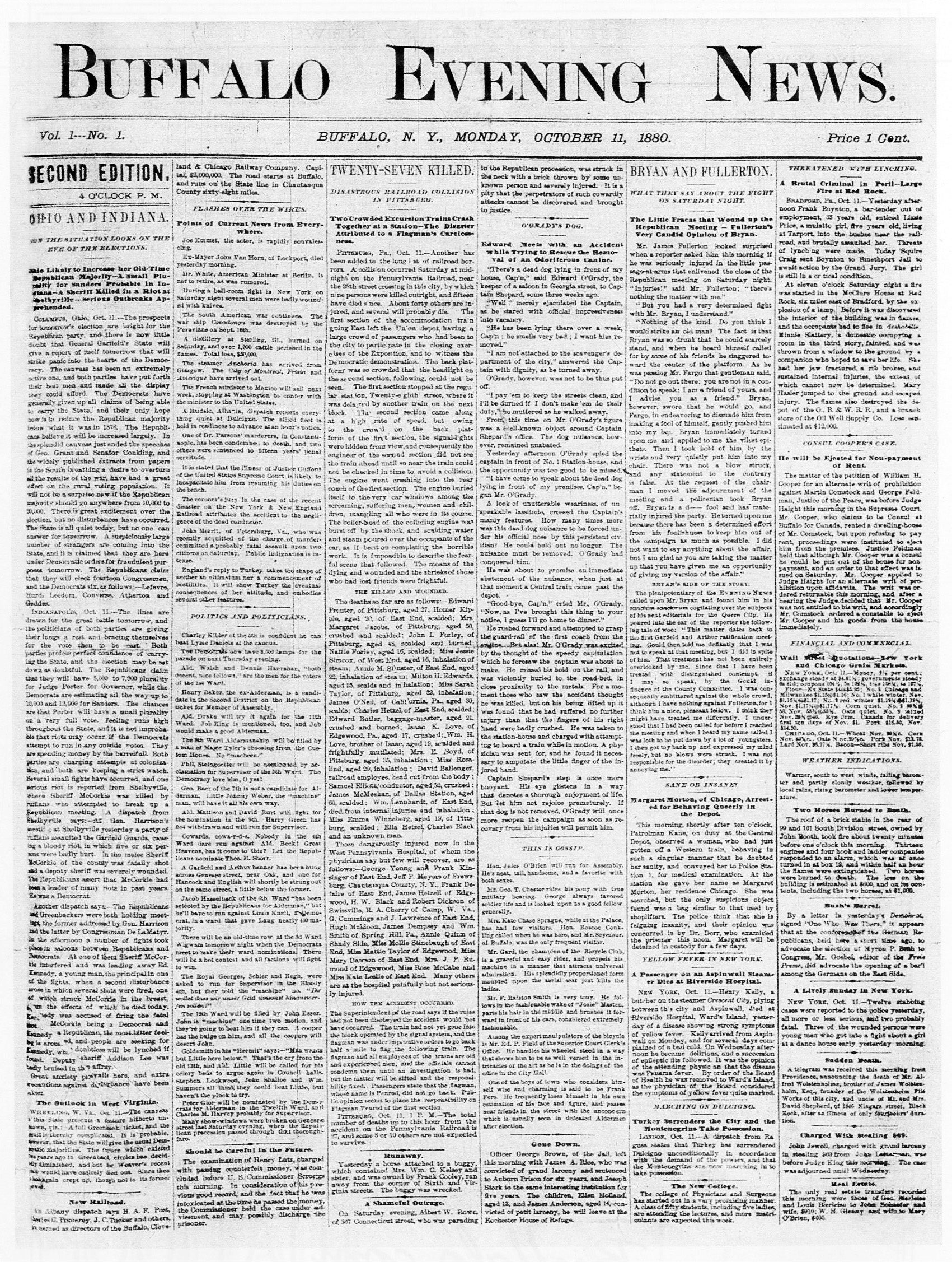 Page 1 of the Oct. 11, 1880, Buffalo Evening News.