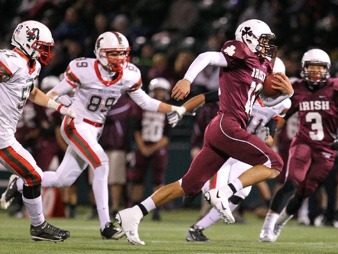 Aquinas and quarterback Jake Zembiec beat Jamestown in last year's Class AA Far West Regional. (Mark Mulville/Buffalo News)