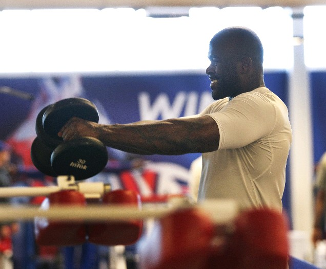 Dan LiBurd and other Buffalo Bills trainers keep written tabs on the nutrition and exercise habits of defensive end Mario Williams and other Bills players. (Sharon Cantillon/Buffalo News)