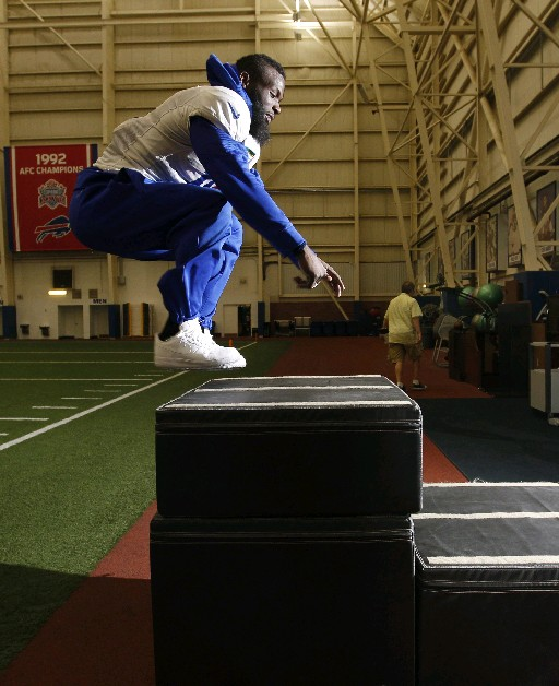 Buffalo Bills receiver Mike Williams does box jumps in the Bills Field House. (Sharon Cantillon/Buffalo News)