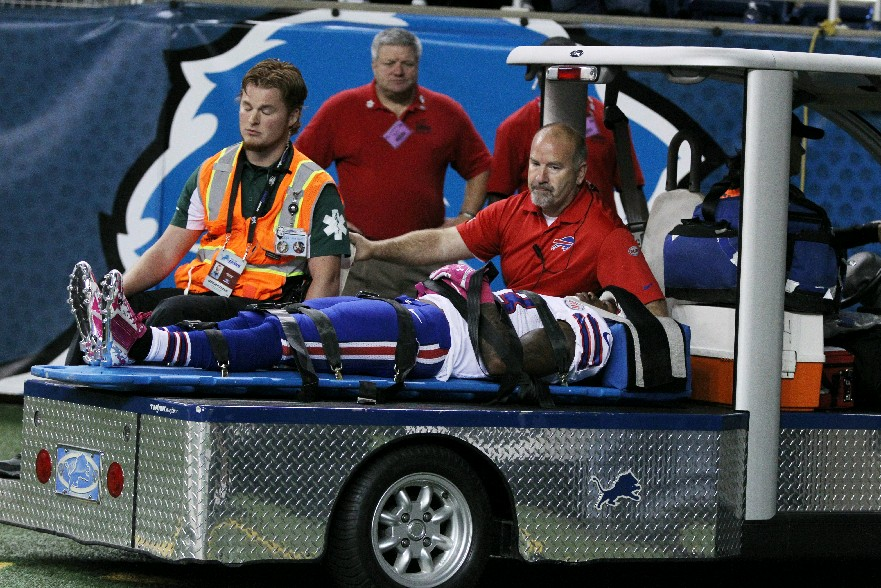 Ron Brooks was carted off the field. (James P. McCoy/Buffalo News)