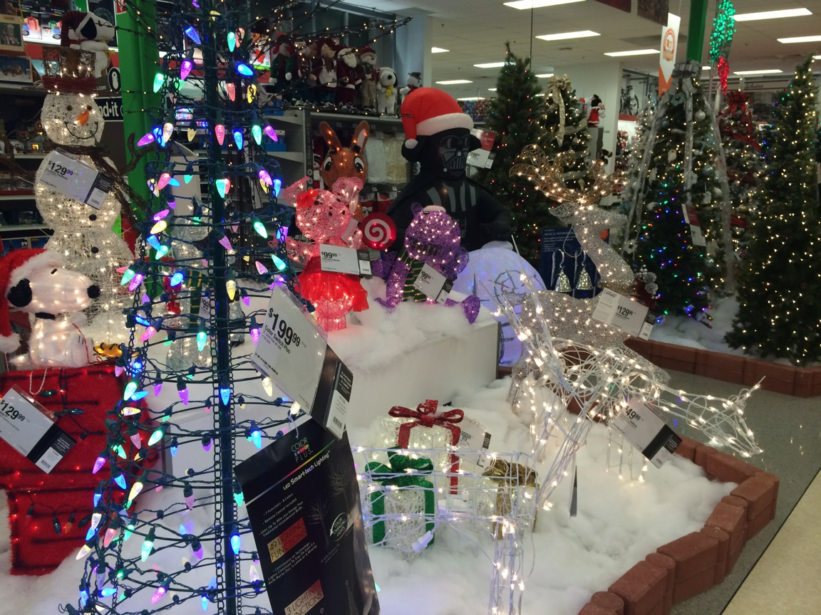 Sears has been selling Christmas trees and decorations for weeks. (Photo by Samantha Christmann)