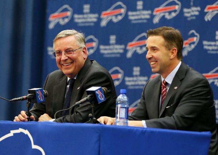 Terry Pegula (left) and Russ Brandon during today's news conference. (James P. McCoy/Buffalo News)