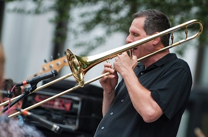 """Trombonist Phil Sims will perform in """"The Bus Stops Here"""" Saturday in MusicalFare Theatre's cabaret space."""