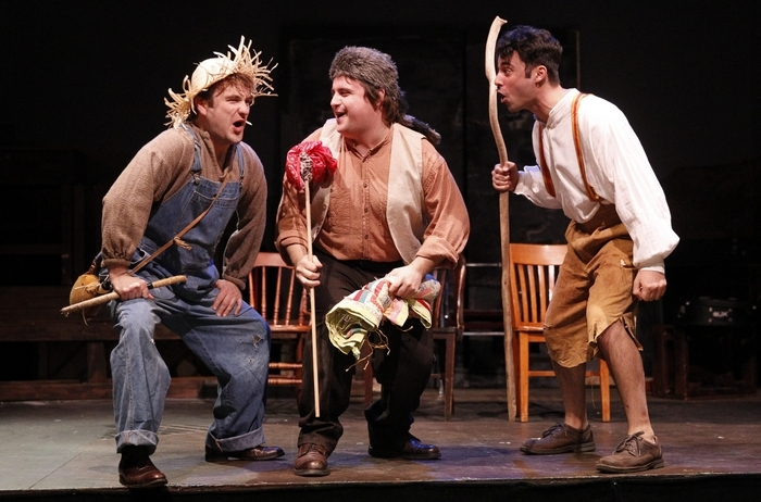 "The New Phoenix Theatre rehearsed for their production of ""The Adventures of Tom Sawyer,"" Sunday, Nov. 16, 2014. Joe Donohue plays Huck Finn, left, Kevin Craig plays Joe and Brandon Barry plays Tom Sawyer.  (Sharon Cantillon/Buffalo News)"
