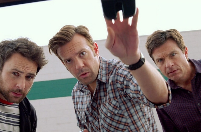 "Charlie Day, left, Jason Sudeikis and Jason Bateman star as three buddies who go into business together in the new comedy ""Horrible Bosses 2."""