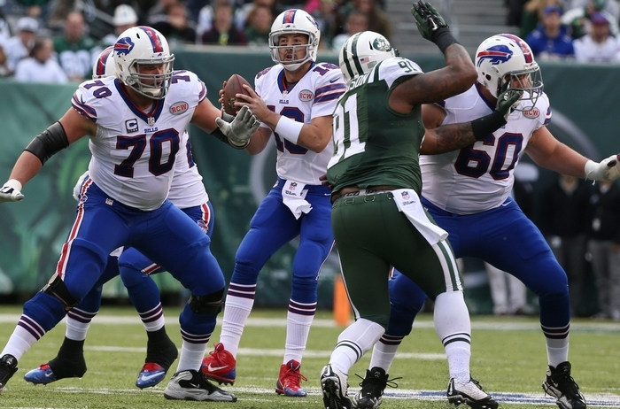 Bills quarterback Kyle Orton made the most of the limited amount of throwing he did against the Jets, completing 10 passes and four touchdowns. (James P. McCoy/Buffalo News)