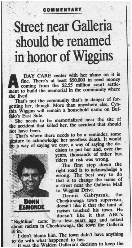 26 nov 1999 esmonde street in honor of wiggins