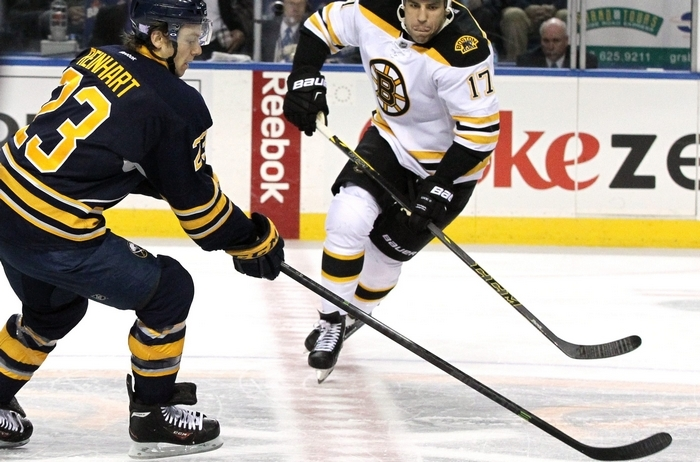 Sam Reinhart played 7 minutes and 45 seconds against Milan Lucic and the Bruins on Thursday night. (James P. McCoy/Buffalo News)