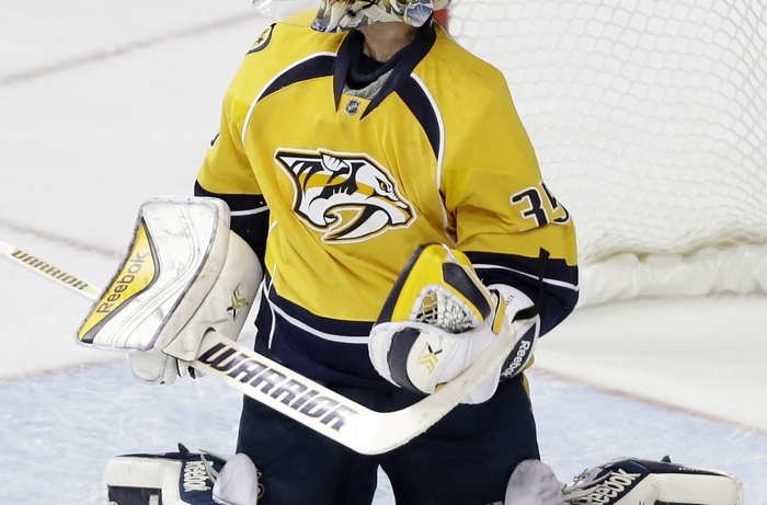 Goalie Pekka Rinne, who leads the league with 13 victories, is a primary reason for why the Predators are leading the Central Division. (Associated Press)